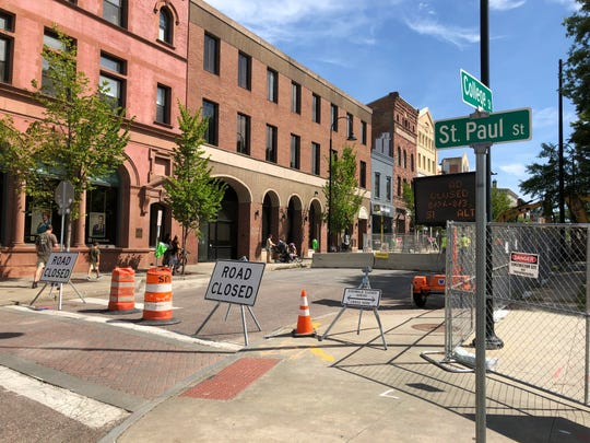 Roadwork has closed off College Street to traffic between St. Paul and Church streets in Burlington, as seen on Tuesday, Aug. 27, 2019.