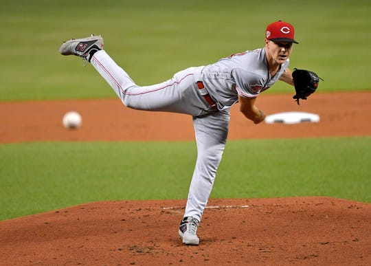 Aug 26, 2019; Miami, FL, USA; Cincinnati Reds starting pitcher Sonny Gray (54) throws in the first inning against the Miami Marlins at Marlins Park.