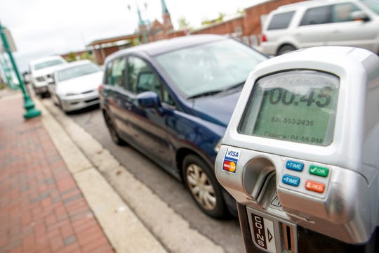 A parking meter displays time remaining for a parking spot along 2nd Street in Historic Downtown in Clarksville, Tenn., on Monday, Aug. 26, 2019.