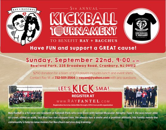 All proceeds from a fifth annual kickball tournament will benefit Ray Fantel