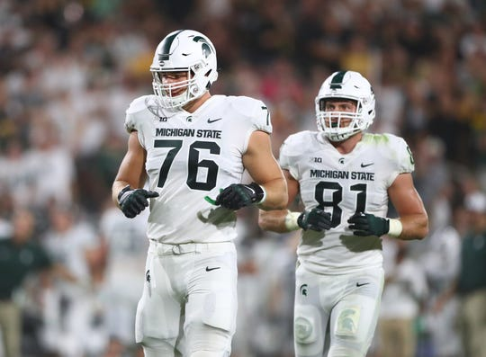 Michigan State offensive tackle AJ Arcuri (76) against Arizona State, Sept. 8, 2018 in Tempe, Ariz.