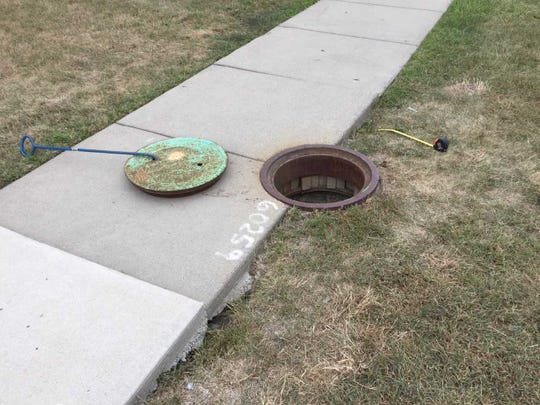 A sinkhole was discovered in August 2019 under a sidewalk near Eastpointe Middle School.
