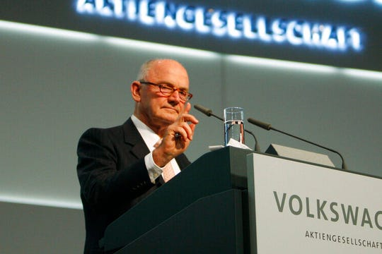 In a Thursday, Dec. 3, 2009 file photo, Ferdinand Piech, the chairman of the board of VW, delivers his speech during the Volkswagen extraordinary general meeting in Hamburg, northern Germany. Piech has died,  according to German media reports Monday, August 26, 2019. He was 82.