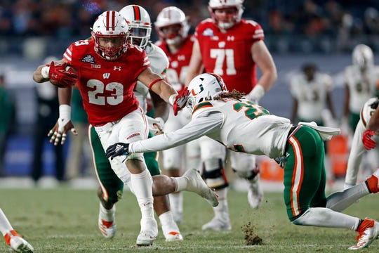 Wisconsin running back Jonathan Taylor lead the nation in 2018 with 2,194 rushing yards for an average of 168.8 a game.