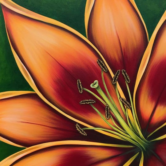 Local artist Denise Cassidy Wood makes acrylic and mixed media floral paintings.  She'll be one of more than 80 artists at this year's Art in the Village in Franklin.