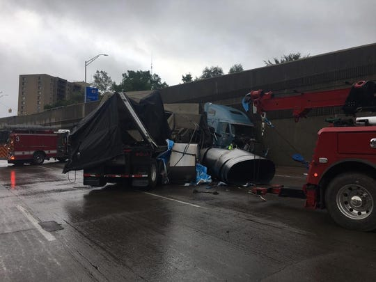 A crash involving a semi-truck closed eastbound I-696 at Greenfield Road Tuesday morning.