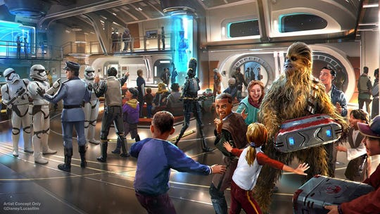 A new Star Wars vacation experience unlike anything Disney has ever created before will fully immerse guests. When the Launch Pod docks with the Halcyon and the airlock opens, you will step into the ship's main deck Atrium to begin your journey through a galaxy far, far away.
