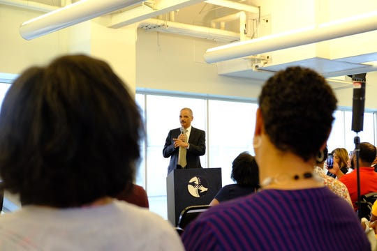 Former U.S. Attorney General Eric H. Holder Jr. speaking to a group of community leaders and elected officials on the importance of the 2020 census at Focus Hope in Detroit on Aug. 27, 2019.