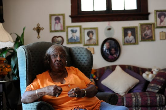Estella Moss of Evansville, 84, talks about her experiences during the Civil Rights Movement Saturday, Sept. 22, 2012.