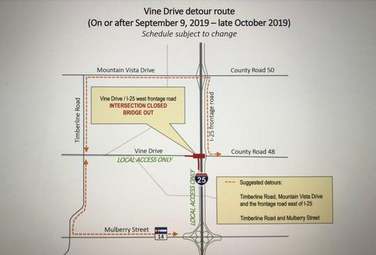 Vine Drive bridge detour map.