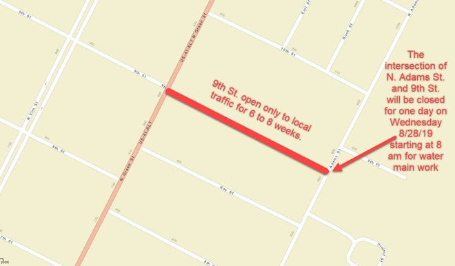 A graphic showing water line work that will be taking place in area of Ninth and North Adams streets.