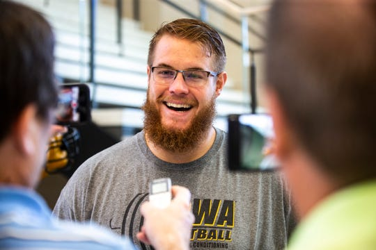 Iowa offensive lineman Levi Paulsen speaks with reporters during a football player media availability, Tuesday, Aug. 27, 2019, at the Hansen Football Performance Center, in Iowa City, Iowa.