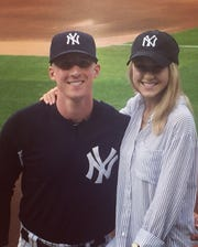 Yankees bullpen catcher and assistant coach, Radley Haddad, with this wife, Arielle.