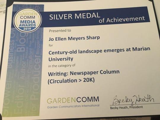 Jo Ellen Meyers Sharp's Sept. 9, 2018, column won a silver medal at the Garden Comm Media Awards earlier this year.