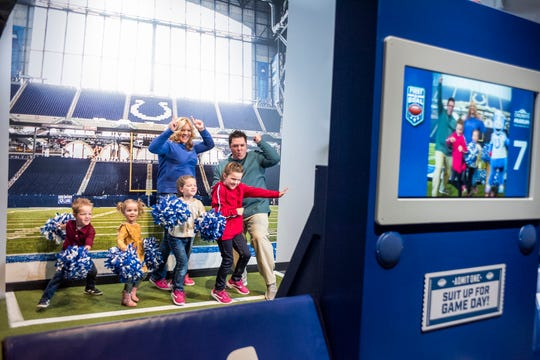 """You and your family can show off your best dance moves alongside Blue, the Colts' mascot, in the new """"First & Goal"""" exhibit at The Children's Museum of Indianapolis."""