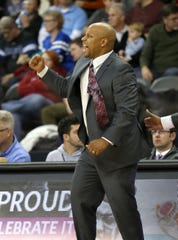 IUPUI head coach Jason Gardner reacts after a basket against Indiana State at the Fairgrounds Coliseum Friday November 14, 2014.