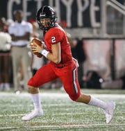 Brandon High School's Will Rogers (2) looks for a receiver. Brandon and Starkville played in an MHSAA Class 6A high school football game on Friday, August 23, 2019 at Brandon. Photo by Keith Warren