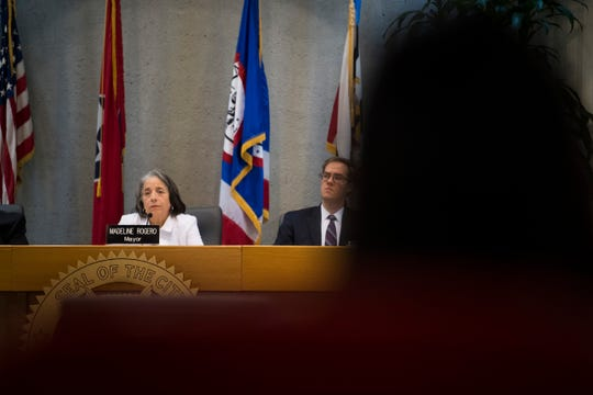 "Knoxville Mayor Madeline Rogero listens to citizens at a City Council meeting at the City County Building in Knoxville, Tuesday, Aug. 27, 2019. A Knoxville police officer shot and killed Channara Tom ""Philly"" Pheap at an apartment complex in northwest Knoxville yesterday, Monday Aug. 26, 2019."