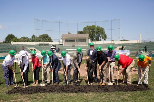 Ground breaking ceremony for the new Loeb Stadium, Tuesday, Aug. 27, 2019 in Lafayette. The 79-year-old stadium will be torn down and rebuilt on the same spot, reopening in 2021.