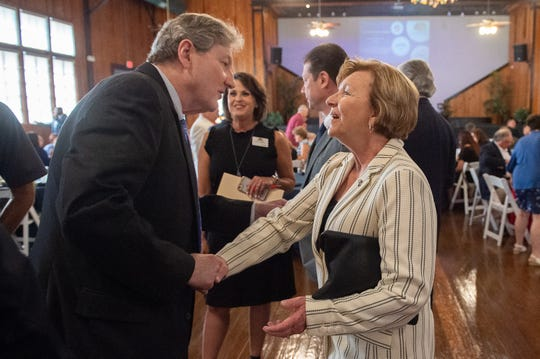 Simone Champagne, pictured here with Louisiana's Republican U.S. Sen. John Kennedy, has attracted more donors in recent weeks than her GOP opponents.