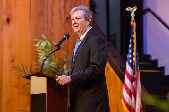 Republican U.S. Sen. John Kennedy of Louisiana, seen here at a recent Broussard Chamber of Commerce appearance, was among GOP elected leaders who addressed a party rally with President Donald Trump on Friday in Lake Charles.