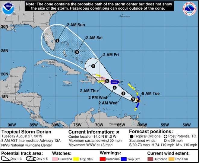 The National Hurricane Center forecast now shows Tropical Storm Dorian threatening Florida this weekend.