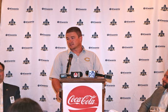 Carencro High School assistant coach Thomas Tillery III speaks as area coaches compete for the coveted Crying Towel at the 69th annual Kiwanis Club Football Jamboree luncheon at the Petroleum Club Tuesday, Aug. 27, 2019.