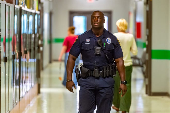 Derrick Miles is a School Resource Officers (SRO) at  Lafayette High School and also serves as assistant football coach. Tuesday, Aug. 20, 2019.