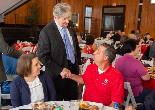 U.S. Sen. John Kennedy (R-La.) speaking with Chuck Landry at the Broussard Chamber of Commerce. Tuesday,  Aug. 27, 2019.