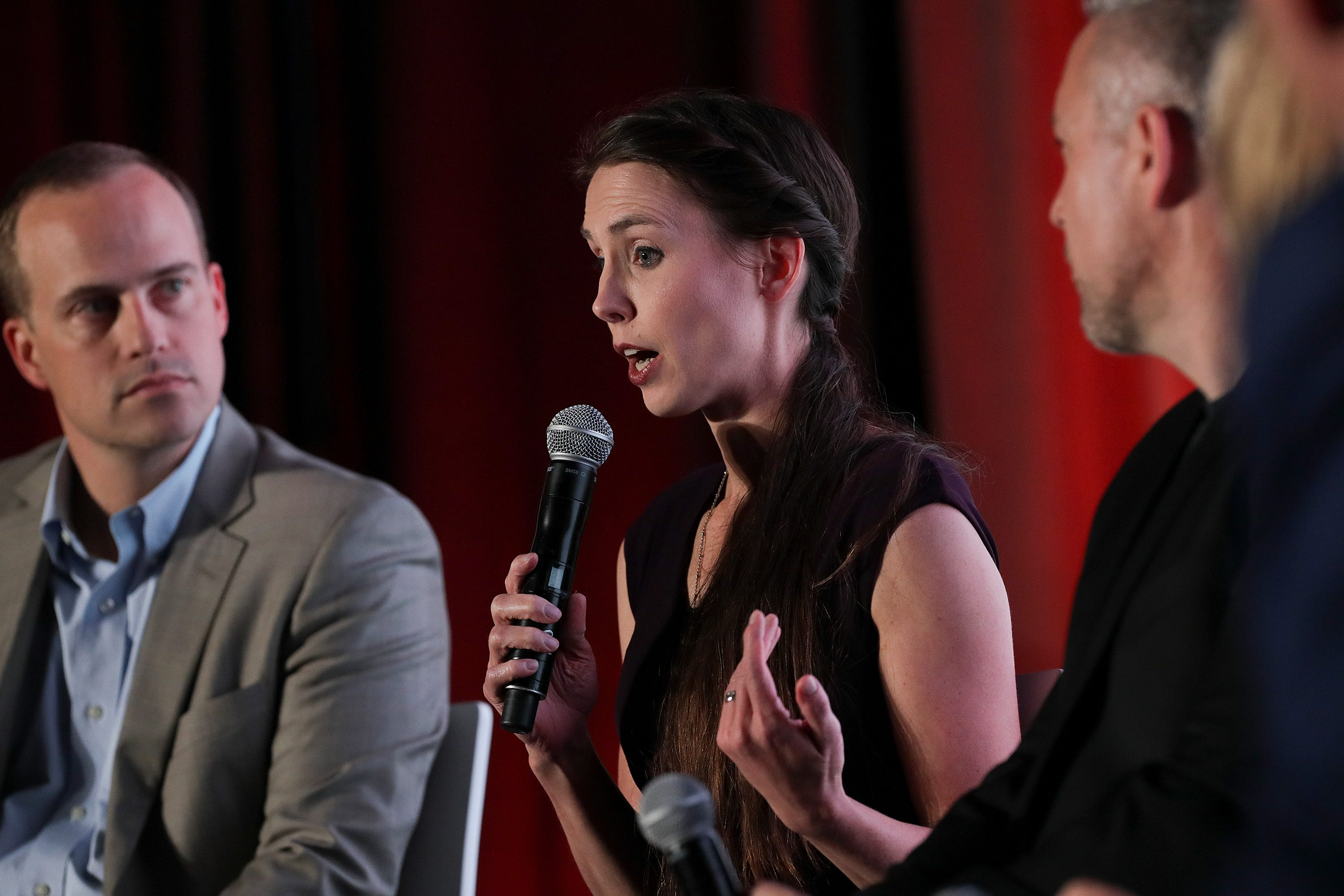Rachael Denhollander expresses her thoughts on stage with church leaders during a panel discussion at the Southern Baptist Convention in Birmingham, Alabama. June 2019