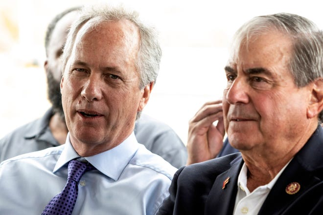 Louisville Mayor Greg Fischer, left, and U.S. Rep. John Yarmuth sit side by side during a groundbreaking ceremony for the Louisville Urban League Sports and Learning Complex at 3029 W. Muhammad Ali Blvd on Aug. 27, 2019.