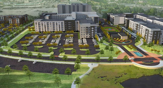 A rendering of the Red Cedar project in Lansing.