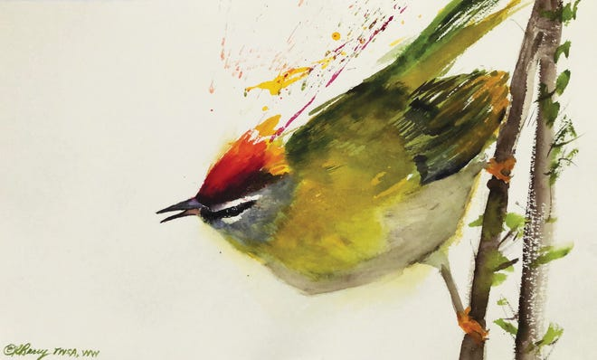 """Robin Berry's watercolor """"Common Firecrest"""" is part of the """"Birds in Art"""" exhibit in Wausau."""