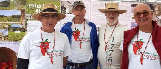 From left, Tim Csiacsek, Thomas Csiacsek, William Hussli and Larry Hussli, pairs of cousins, are descendants  of the folks who brought the original pepper seeds here from Hungary.