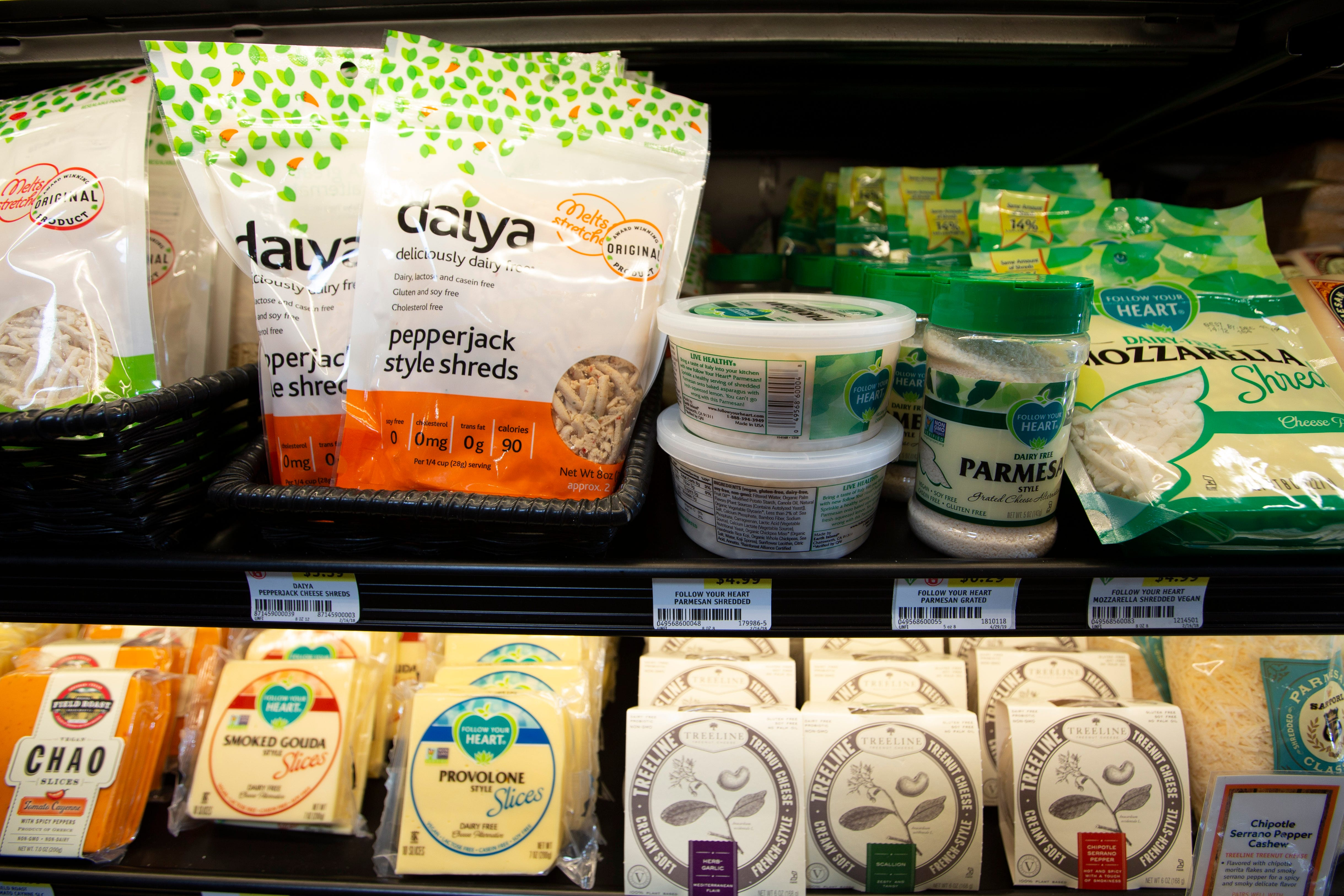Dairy alternative cheese products on at Outpost Natural Foods in Wauwatosa, Wis.