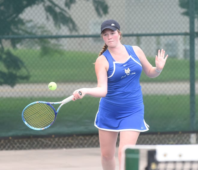 Mountain Home's Meagan Beck returns a shot during action against Highland on Monday.
