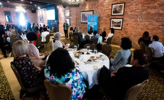 Lauren Knausenberger, Director of Cyberspace Innovation for the U.S. Air Force, speaks to a group of local female business leaders at a luncheon in Montgomery, Ala., on Tuesday August 27, 2019.