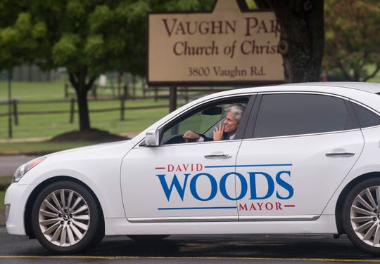 Mayor candidate David Woods talks with fellow campaigners at Vaughn Park Church of Christ in Montgomery, Ala., on Tuesday, Aug. 27, 2019.