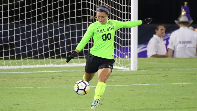 Ball State soccer goalkeeper Tristin Stuteville prepares to kick a ball. Stuteville was named the Mid-American Conference's top defensive player of the week.