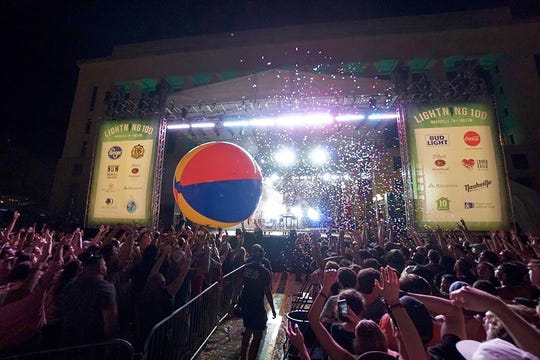 Fans play with a giant beach ball at Live on the Green in 2018.