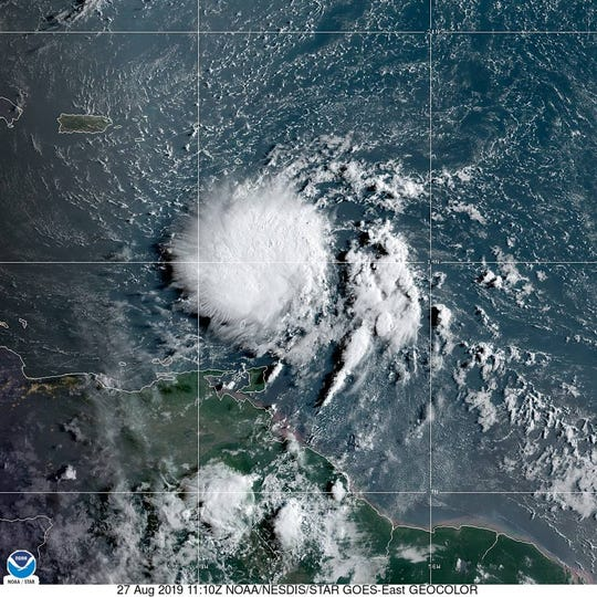 Tropical Storm Dorian on Tuesday, Aug. 27