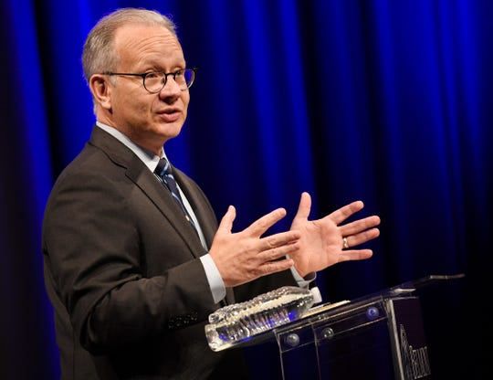 Mayor David Briley speaks during the mayoral debate at Belmont University's Troutt Theater in Nashville, Tenn., Monday, Aug. 26, 2019.