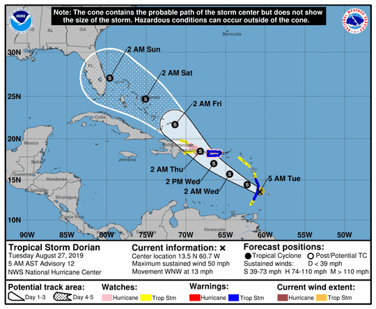 Tropical Storm Dorian, 5 A.M advisory Tuesday, Aug. 27, 2019