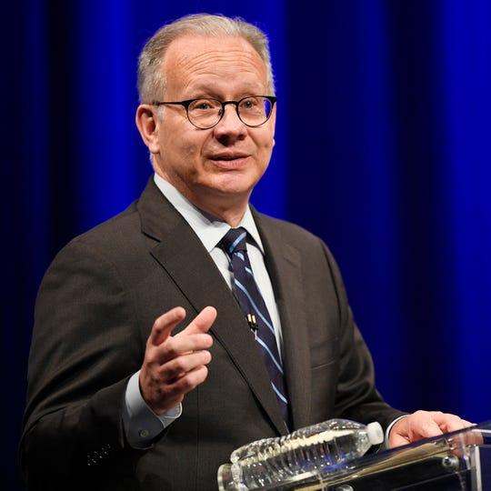 Mayor David Briley speaks during the mayoral debate at Belmont University on Monday.