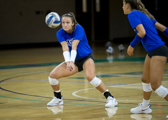 Junior Cortney VanLiew practices with her FGCU volleyball teammates on Tuesday. She is seventh in program history for kills, with 790 heading into this season.