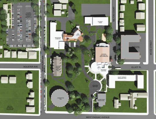 This site plan shows the location of Felician University's proposed Wellness and Recreation Center on its Rutherford campus as it was approved by Planning Board members in August 2019.