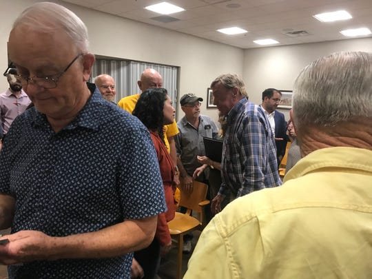 Rep. Xochitl Torres Small (NM-D2) speaks with Carlsbad residents after a town hall meeting Aug. 28 in the Municipal Annex in Carlsbad, New Mexico.