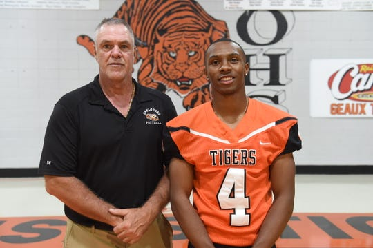 Opelousas High head football coach Doug Guillory welcomes senior all-purpose athlete Corinithian Campbell back to the team after Campbell completed a 10-week summer training program with the Army National Guard.