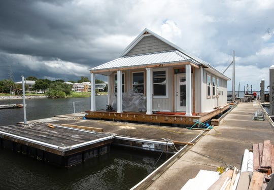 A prototype of a house boat under construction at Pitts Slip nears completion. The rental house boats will be part of the new Seville Harbour Marina, if the City Council signs off on a proposed lease.