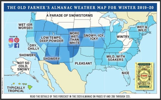 2019-20 winter outlook map from the Old Farmers' Almanac